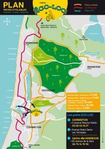Plan des pistes cyclables à Hossegor, Seignosse & Capbreton