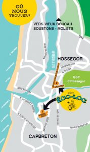 Carte magasin location vélo capbreton & hossegor